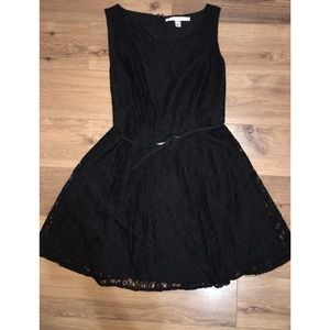 Lauren Conrad Black Dress Belted A-line Lace